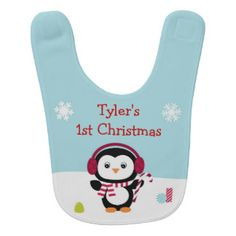 Penguin First Christmas Baby Bib