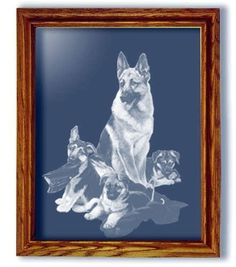 Rookies German Shepherd Dog Large Rectangular Mantle Mirror