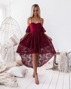 Chic burgundy lace high low prom party dresses, spaghetti straps homecoming dress short,cheap graduation dress for junior schicke burgunder spitze high low prom party kleider, [. Junior Graduation Dresses, Junior Dresses, Short Dresses, Event Dresses, Prom Party Dresses, Dress For Party, Pretty Dresses, Beautiful Dresses, Burgundy Homecoming Dresses