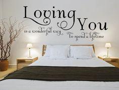 Bedroom Decor For Small Rooms, Romantic Bedroom Decor, Bedroom Decor For Couples, Wall Decals For Bedroom, Home Decor Bedroom, Pictures For Bedroom Walls, Vinyl Wall Decals, Master Bedroom Decorating Ideas, Vinyl Wall Quotes