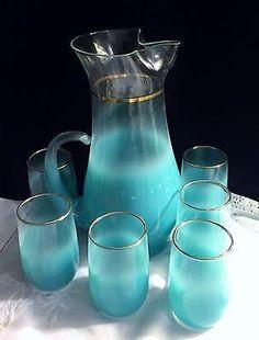 c1945 Rare Hand Blown Aquamarine Blendo Gold Rim Lemonade Pitcher & 6 Glasses