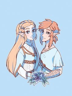 Breath of the Wild Zelda and Link by thepoecatcher