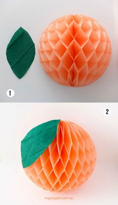 Transform some plain honeycomb tissue balls into fun fruit party decorations. It only takes a few minutes to make this eye-catching party centerpiece. Orange Party, Peach Baby Shower, Girl Shower, Baby Birthday, First Birthday Parties, Birthday Ideas, Peach Decor, Peach Party Decor, Fete Emma