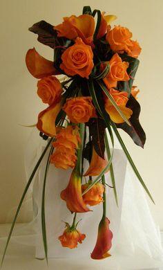Brides Shower Bouquet, Mango Calla Lilies and Roses