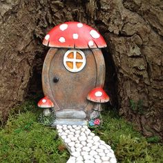Miniature fairy garden door for fairy house with mushrooms Fairy Garden Doors, Fairy Doors, Create A Fairy, Miniature Fairy Gardens, Fairy Houses, Safari, Miniatures, Mushrooms, Handmade Gifts