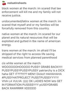 Women's March on Washington------ Feminism HAS to be intersectional. No exceptions. White women have to stand beside their WoC sisters.