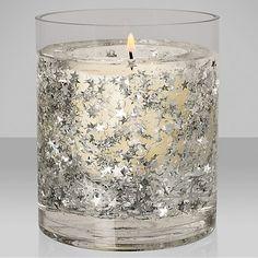 Buy John Lewis Glitter Star Medium Gel Candle, Silver Online at johnlewis.com £15