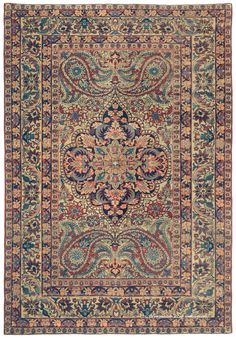 LAVER KIRMAN, Southeast Persian 4ft 7in x 6ft 9in Late 19th Century http://www.claremontrug.com/antique-oriental-rugs-carpets/