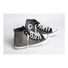 Custom Women's Studded Converse ($325) ❤ liked on Polyvore featuring shoes, sneakers, studded high top shoes, high top shoes, high top sneakers, studded sneakers and high top trainers