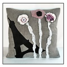 Upcycled Paris Decorative PillowPurple Black by inscribedesigns, $85.00
