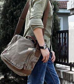 Flap Closure #Mens Crossbody Shoulder #Messenger Bag