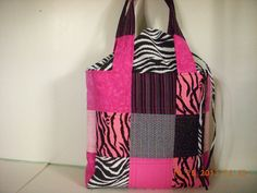 Quilted Patchwork Pink and Black Zebra Print by LoveToSewBags, $40.00
