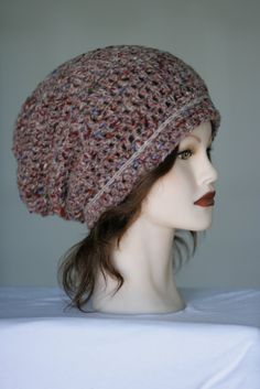 Slouchy Wool Beanie Hat has Rose Tint with Woven Multi-color Texture by 2Sweeties
