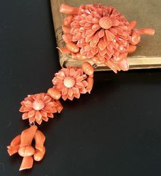 Georgian Carved Sciacca Coral Brooch Pendant