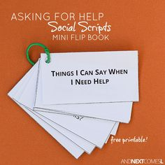 Social Skills 141370875783647278 - Free printable social scripts about asking for help for kids with autism or hyperlexia from And Next Comes L Source by tarahmanning Social Skills Lessons, Social Skills For Kids, Social Skills Activities, Teaching Social Skills, Social Emotional Learning, Speech Therapy Activities, Coping Skills, Social Work, Life Skills