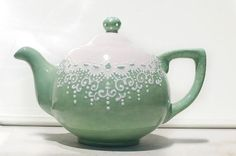 Mint and lace teapot