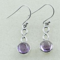 AMETHYST STONE UNIQUE DESIGN 925 STERLING SILVER EARRINGS #SilvexImagesIndiaPvtLtd #DropDangle