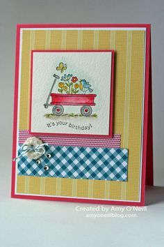 Wagon Full of Birthday Wishes--sweet card For the birds SU stamp