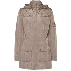 Barbour International casual parka (€185) ❤ liked on Polyvore featuring outerwear, coats, taupe, women, brown parka coat, barbour coats, windbreaker coat, barbour and barbour parka