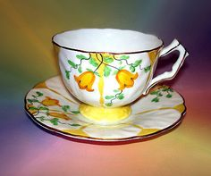 Handpainted Yellow Bell Flower Aynsley Tea Cup and Saucer Set