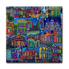 4x4 New Orleans Jazz Art Tile Ceramic Coaster Bourbon Street French Quarter 4x4 #heathergaller