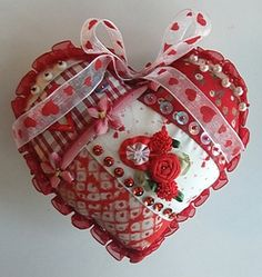 I ❤ crazy quilting, beading & ribbon embroidery . . . pin-beaded Valentine heart ~By Hideko Ishida