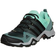 adidas Performance AX2 GTX Hiking shoes ($115) ❤ liked on Polyvore featuring shoes, athletic shoes, green, sports shoes, cushioned shoes, adidas footwear, green athletic shoes and waterproof footwear