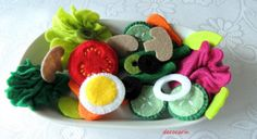 Felt Salad Felt Food Felt Vegetable Lettuce Tomato by decocarin