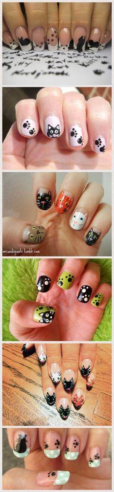 cat nail art! #cute #nailartnov