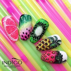 Nail art Christmas - the festive spirit on the nails. Over 70 creative ideas and tutorials - My Nails Food Nail Art, Fruit Nail Art, Fruit Nail Designs, Nail Art Designs, Summer Acrylic Nails, Summer Nails, Trendy Nails, Cute Nails, Pineapple Nails