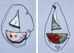 Button Boats - Glass Art