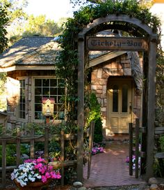 Tickety-Boo Cottage in Carmel-by-the-Sea, Monterey County, California. Hugh Comstock, inspired by the Fairytale Illustrations of Arthur Rackham, is credited with starting the Fairytale Cottage style in Carmel