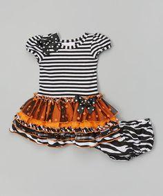 Look what I found on #zulily! Black & Orange Tutu Dress - Infant, Toddler & Girls #zulilyfinds