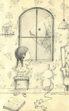) by 꼬닐리오 on Grafolio Fish Drawings, Art Drawings Sketches, Illustration Sketches, Illustrations, Cute Disney Drawings, Pretty Drawings, Story Drawing, Drawing Art, Bunny Art