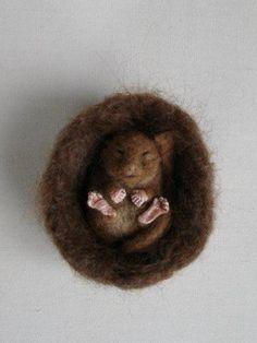 Needle Felted Hibernating Dormouse by Tamara111, via Flickr
