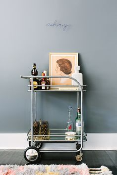 bar cart styled by black lacquer design / sfgirlbybay
