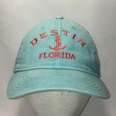 Destin Florida Hat Light Blue Salmon Baseball Cap Womens Hats Golf Beach  Fishing Boat Anchor Travel Vacation Caps Ladies Gifts T34 F9043 ed2c03866fde