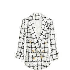 Balmain Frayed Oversized Jacket ($3,495) ❤ liked on Polyvore featuring outerwear, jackets, balmain, chaquetas, suit, white, balmain jacket, double breasted jacket, white jacket and oversized jacket