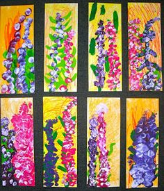 Fine Lines: Springtime Lupines using oil pastel, paint, fingers, and marker.