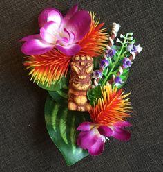 The Lapu Lapu Orange and Purple Tiki Hair Clip by FancyFruits