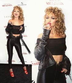 15 of the Best Celebrity Halloween Costumes from Last Night : Sandy from Grease. See the most epic celebrity Halloween costumes right here. Costume Halloween, Best Celebrity Halloween Costumes, Halloween Look, Fete Halloween, Halloween Costumes For Girls, Greece Halloween Costumes, Teen Costumes, Group Costumes, Halloween College