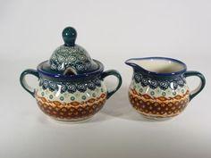 Polish Pottery House Stoneware | Sugar Bowl & Creamer Nantucket