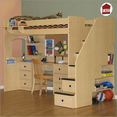 Kids loft bed storage desk idea