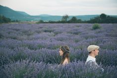 couple sitting back to back in a Lavender field in Provence France