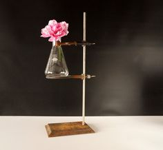 Vintage / Antique Industrial Cast Iron Lab Stand with Erlenmeyer Flask by ThirdShift - old school science!  Makes a unique vase and a fun decoration piece for a Halloween Party or Mad Science Party.  #vintage #madscience #thirdshift3 #thirdshiftvintage