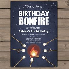 Birthday bonfire invitation Bonfire party by Anietillustration