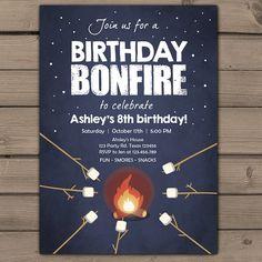 Birthday bonfire invitation Bonfire party by Anietillustration
