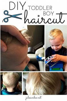 Ty this DIY toddler boy haircut! Is your toddler in desperate need of a trim? Save money by skipping the barbershop and do it yourself! Little Boy Hairstyles, Diy Hairstyles, Sporty Hairstyles, Baby Boy First Haircut, Haircut Tip, Easy Hair Cuts, Toddler Boy Haircuts, Toddler Suits, Toddler Boys