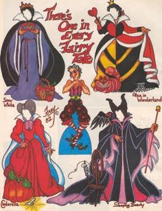 Villain paper doll- Disney stepmother, Maleficent, queen of hearts, evil queen