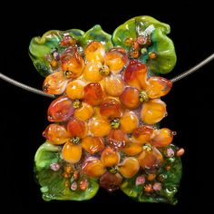 Glass Lampwork Bead Flower - Hydrangea Bloom of Pinks, Yellows & Peach by Patsy Evins